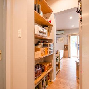 Ispirazione per un piccolo armadio o armadio a muro unisex country con parquet chiaro e pavimento beige