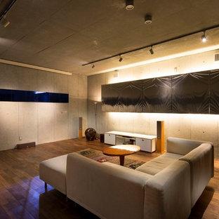 Réalisation d'un très grand sous-sol minimaliste enterré avec un mur gris, un sol en bois foncé, un poêle à bois, un manteau de cheminée en pierre et un sol marron.