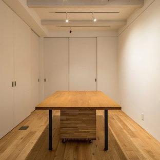 Esempio di una taverna minimal seminterrata con pareti bianche e pavimento in compensato