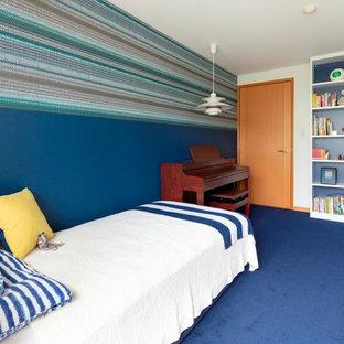 東京23区のビーチスタイルの子供部屋の画像 (青い壁、カーペット敷き、青い床)