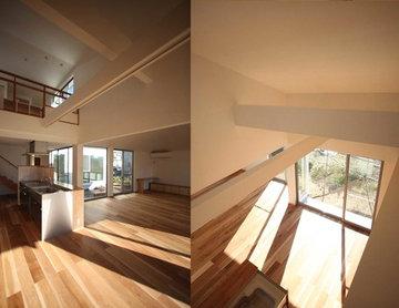 3間×3間のリビングと大きな庇のある家