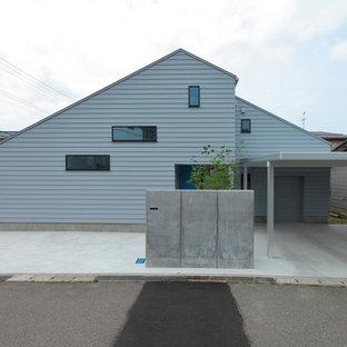 他の地域のコンテンポラリースタイルのおしゃれな白い家 (片流れ屋根) の写真