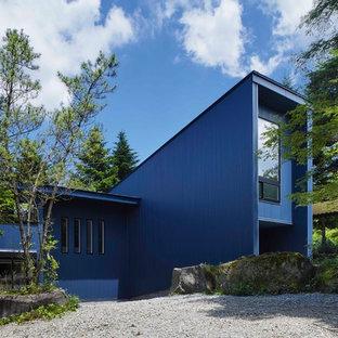 他の地域のコンテンポラリースタイルのおしゃれな家の外観 (青い外壁、片流れ屋根) の写真