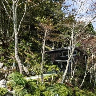 京都の広いモダンスタイルの二階建て住宅の画像 (木材サイディング、黒い外壁、金属屋根)