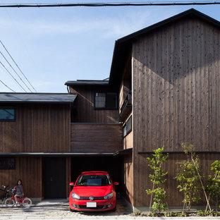 京都の小さいコンテンポラリースタイルのおしゃれな家の外観の写真