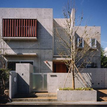 内装に無垢のスギ板を使ったコンクリート住宅