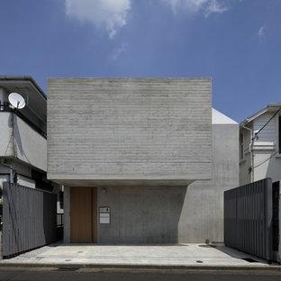東京23区のモダンスタイルのおしゃれな家の外観 (コンクリートサイディング) の写真