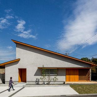 Esempio della facciata di una casa unifamiliare grigia etnica con tetto a una falda