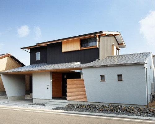 Asian gray exterior home design ideas remodels photos for Asian exterior house design