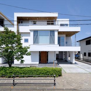 東京都下のコンテンポラリースタイルのおしゃれな家の外観の写真