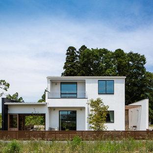 他の地域のアジアンスタイルのおしゃれな家の外観 (漆喰サイディング) の写真