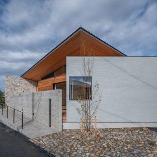 他の地域の中くらいのモダンスタイルのおしゃれな家の外観 (木材サイディング、グレーの外壁) の写真