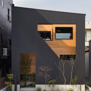 名古屋のコンテンポラリースタイルのおしゃれな黒い外観の家の写真