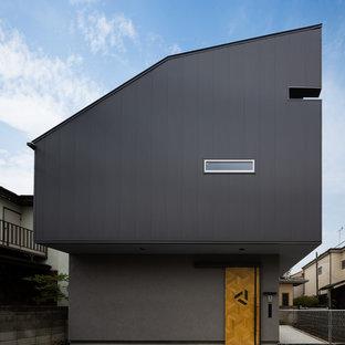 他の地域のインダストリアルスタイルのおしゃれな家の外観 (混合材サイディング、グレーの外壁) の写真