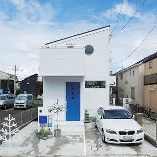 東京都下の中くらいの北欧スタイルのおしゃれな家の外観 (混合材サイディング) の写真