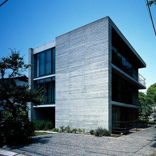 横浜の和風のおしゃれな家の外観 (コンクリートサイディング) の写真