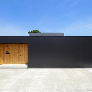 他の地域の小さいモダンスタイルのおしゃれな家の外観 (メタルサイディング、黒い外壁) の写真