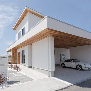 Modelo de fachada blanca, escandinava, con tejado plano