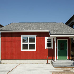 Danish red wood gable roof photo in Other