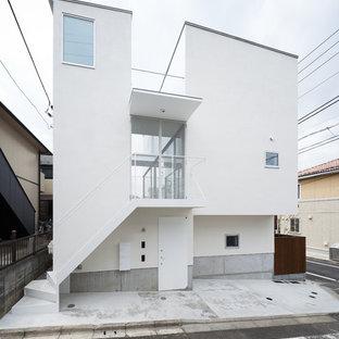 東京23区のモダンスタイルのおしゃれな白い家 (片流れ屋根) の写真