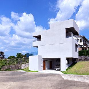 他の地域のコンテンポラリースタイルのおしゃれな家の外観 (陸屋根、戸建) の写真