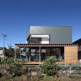 他の地域のコンテンポラリースタイルのおしゃれな家の外観 (メタルサイディング、緑の外壁) の写真