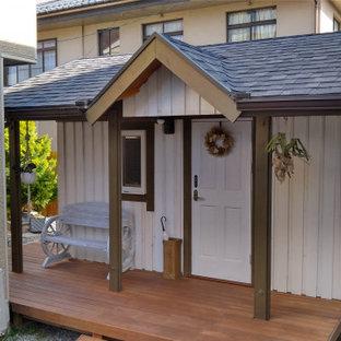 Inspiration för små skandinaviska vita hus, med allt i ett plan och sadeltak