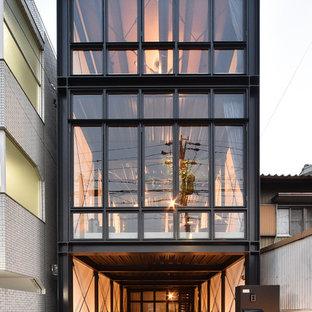 Idéer för industriella svarta hus, med tre eller fler plan och platt tak