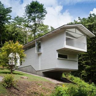 他の地域のコンテンポラリースタイルのおしゃれな家の外観 (ビニールサイディング、グレーの外壁) の写真