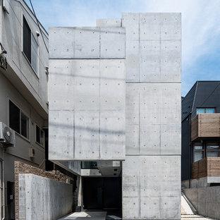 東京23区の中くらいのインダストリアルスタイルのおしゃれなグレーの家 (コンクリートサイディング) の写真