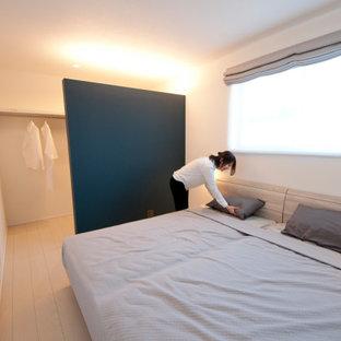 Ispirazione per una camera matrimoniale minimalista di medie dimensioni con pareti bianche, pavimento in compensato, pavimento bianco, soffitto in carta da parati e carta da parati