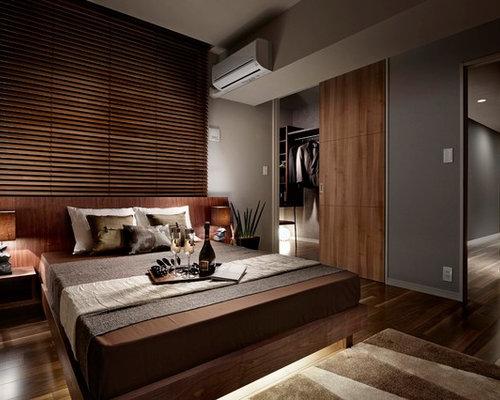 asiatische schlafzimmer mit grauer wandfarbe ideen design bilder houzz. Black Bedroom Furniture Sets. Home Design Ideas