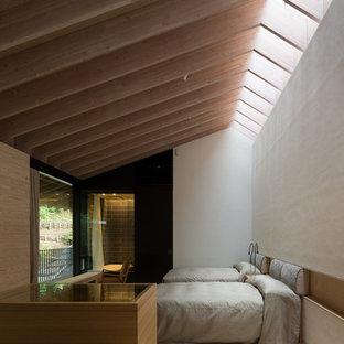 Ejemplo de habitación de invitados moderna, extra grande, sin chimenea, con paredes blancas y moqueta