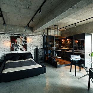 東京都下のインダストリアルスタイルの寝室の画像 (白い壁)