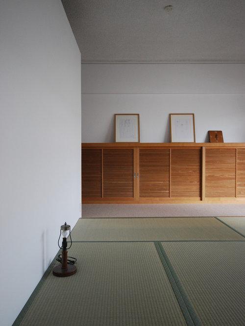 chambre contemporaine avec un sol de tatami photos et id es d co de chambres. Black Bedroom Furniture Sets. Home Design Ideas