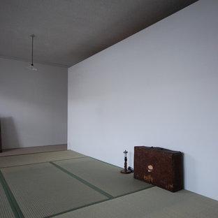 Diseño de dormitorio principal, actual, con paredes blancas y tatami