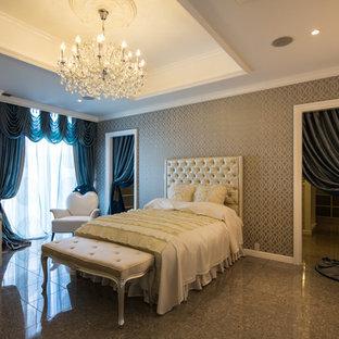 大阪のトラディショナルスタイルのおしゃれな寝室 (グレーの壁、大理石の床、グレーの床) のレイアウト