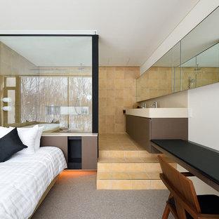 札幌のコンテンポラリースタイルのおしゃれな寝室 (白い壁、カーペット敷き) のレイアウト