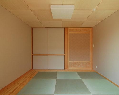 chambre avec aucune chemin e et un sol de tatami photos et id es d co de chambres. Black Bedroom Furniture Sets. Home Design Ideas