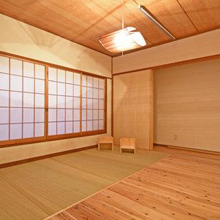 Modelo de dormitorio principal, escandinavo, de tamaño medio, con tatami