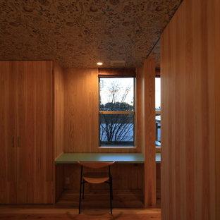 Modelo de dormitorio principal, nórdico, de tamaño medio, con paredes beige, suelo de madera en tonos medios, estufa de leña, marco de chimenea de hormigón y suelo beige