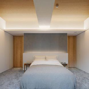 東京23区の大きいモダンスタイルのおしゃれな寝室 (白い壁、カーペット敷き、グレーの床)