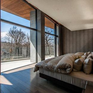 コンテンポラリースタイルのおしゃれな主寝室 (マルチカラーの壁、塗装フローリング、暖炉なし、茶色い床) のインテリア