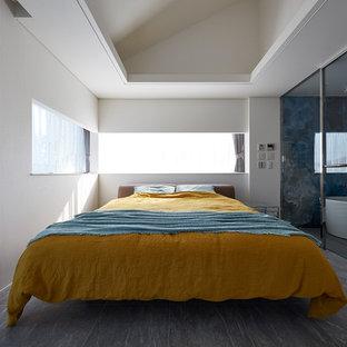 東京23区のコンテンポラリースタイルのおしゃれな寝室 (白い壁、グレーの床) のインテリア