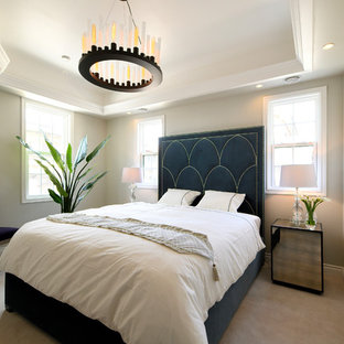 東京23区のトランジショナルスタイルのおしゃれな寝室 (グレーの壁、カーペット敷き、グレーの床)