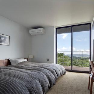 他の地域の中くらいのモダンスタイルのおしゃれな寝室 (白い壁、カーペット敷き、茶色い床) のインテリア