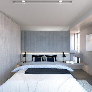 東京23区の小さいコンテンポラリースタイルのおしゃれな主寝室 (ベージュの壁、コンクリートの床、暖炉なし、グレーの床) のインテリア
