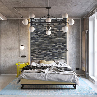 東京23区のインダストリアルスタイルのおしゃれな寝室 (グレーの壁、コンクリートの床、グレーの床)