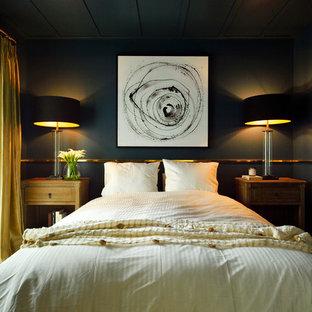 東京23区のトランジショナルスタイルのおしゃれな寝室 (黒い壁) のインテリア