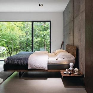 Ejemplo de dormitorio industrial con paredes multicolor y suelo gris